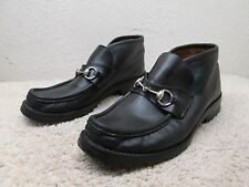 GUCCI WOMEN ANKLE BOOTS MOCC LOAFERS SHOES SZ 7 BLACK LEATHER HORSE BIT ITALY
