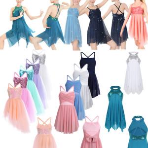 Image is loading Kids-Girls-Ballet-Latin-Lyrical-Dance-Dress-Gymnastics- 6046b5cdd7ac