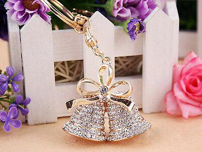 KC010 Bells Keyring Rhineston Crystal Charm Pendant Key Bag Chain Christmas Gift