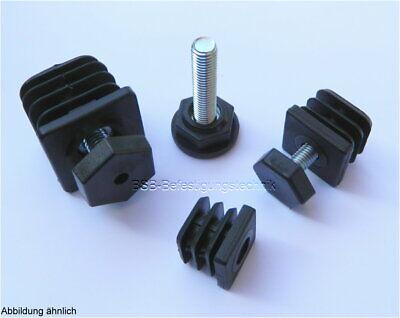 2 Justierstopfen 30x30 WS 2mm mit M10 Gewinde Lamellenstopfen  Vierkant