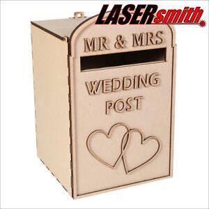 Intelligent Wedding Post Box, Royal Mail Styled, Plane Pack, Non Peinte Mdf Pour Cartes Etc-afficher Le Titre D'origine