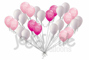 Image Is Loading 24 Pc Pink Baby Girl Latex Balloons Party