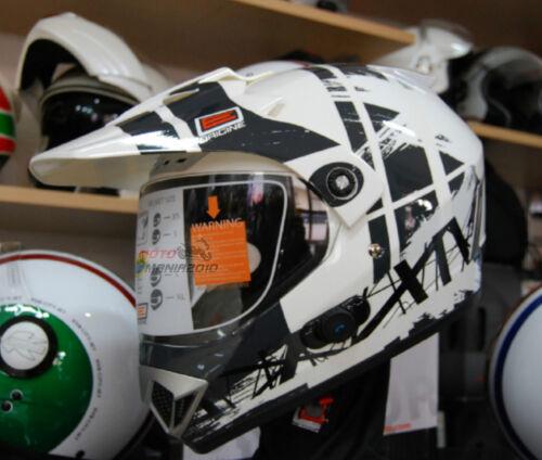 Bluetooth BLiNC G2 Dakar Bianco Lucido-Nero Cross Casco Origine Gladiatore XS
