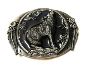 Howling-WOLF-antique-silver-midnight-blue-color-outdoors-man-hunting-belt-buckle