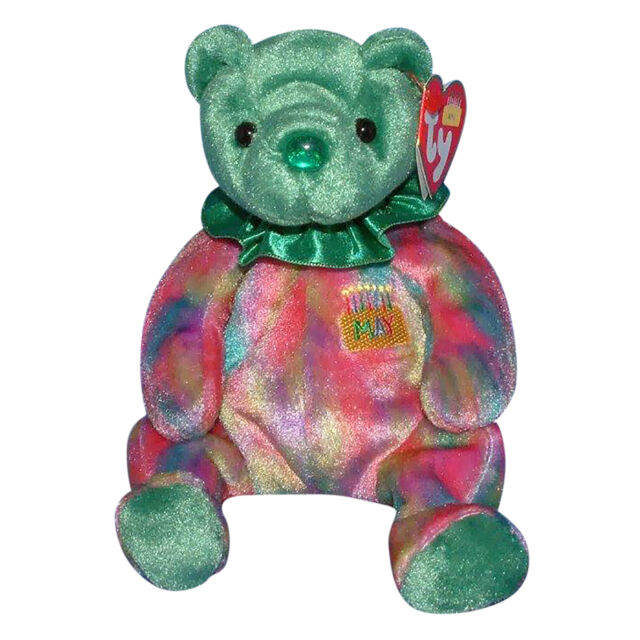 Emerald May Birthday Birthstone 2002 Ty Beanie Babie 7.5in Bear 3 up ... 4f242cd4cab1