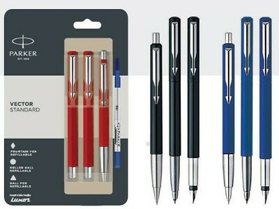 New Sealed Blue ink Parker Set of 3 Vector Standard CT Ball point  Ball Pens