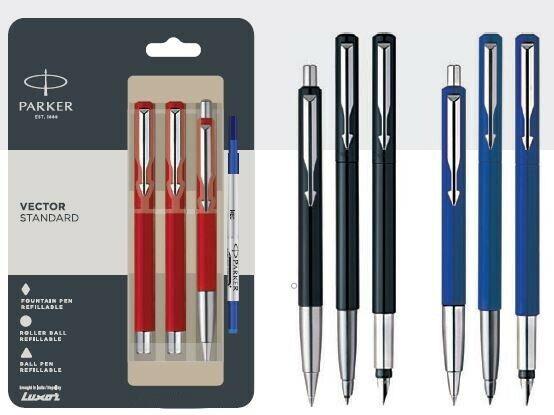 Black Roller Ball Pen and Ball Pen 3 x PARKER VECTOR Standard CT Fountain Pen