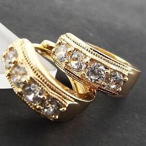FS924-GENUINE-18K-YELLOW-G-F-GOLD-SOLID-DIAMOND-SIMULATED-HUGGIE-HOOP-EARRINGS