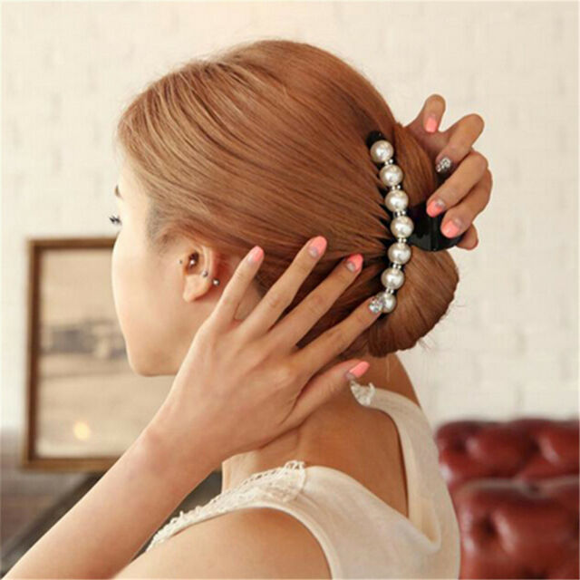 Women Lady Girl Pearl Crystal Hair Clip Clamp Claw Haedpiece Hair Accessory  Z
