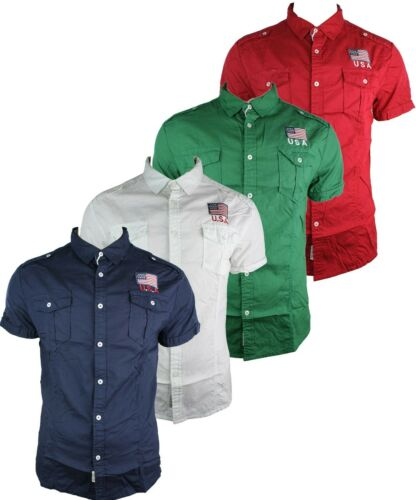 Mens Fitted Half Short Sleeve Shirt Green Red White Navy Cream Casual Summer Bu