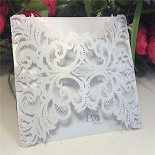 60PCS White Cards Personlized Colors Laser Cut Wedding Party Invitation Cards