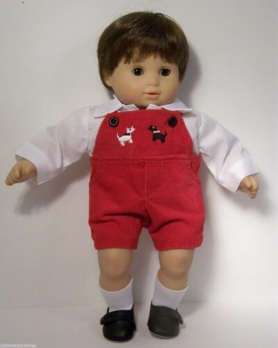 Debs WHITE Shirt RED Overall Short Puppy-Dog Doll Clothes For Bitty Baby Boy