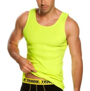 Mens-4-Pack-Tradie-Cotton-Tank-Work-Singlets-Hi-Vis-Fluro-Yellow-3SC