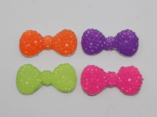 50 Mixed Neon Color Flatback Resin Cabochon Dotted Rhinestone Bowknot Bow 22mm