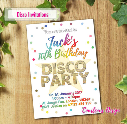 Neon Glow Party Invitation Personalised UV Birthday Party Glow in the Dark Theme
