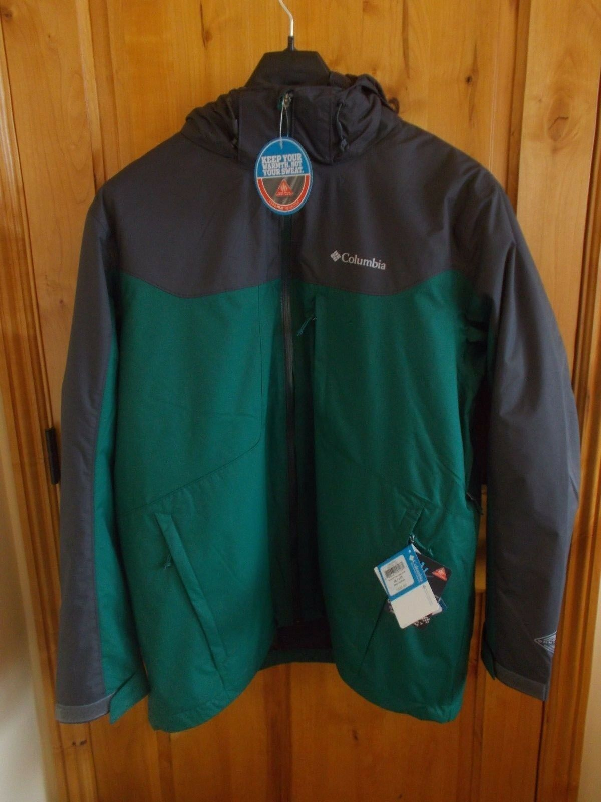 COLUMBIA NWT 3 IN 1 INTERCHANGE WHIRLIBIRD COAT W/OMNI HEAT Grün W/grau 220