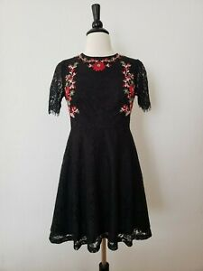 Anthropologie-Dress-New-Size-Small-XS-Black-Embroider-Lace-Vintage-Style-Boho