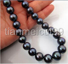 18 INCH 10-11MM TAHITIAN AAA+ NATURAL BLACK PEARL NECKLACE 14K