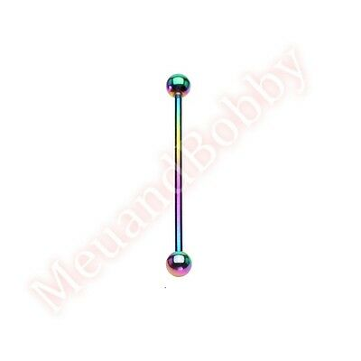 14G Titanium Anodized Industrial Barbell Ear Ring Body Piercing Jewellery