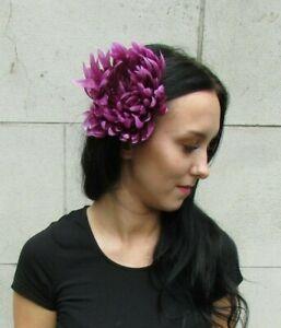 grande variété de styles jolie et colorée assez bon marché Détails sur Large Prune Raisin Violet Fleur Pince à cheveux bibi Floral  races mariage 7275- afficher le titre d'origine