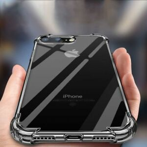For-iPhone-7Plus-8Plus-X-Case-Clear-Crystal-Shockproof-Hard-Back-Hybrid-Cover