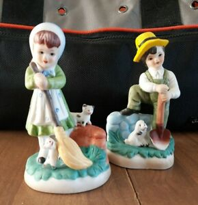 Vintage-Ceramic-Boy-With-Shovel-And-Girl-With-Broom-Bisque-Figurine