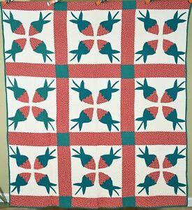 Cheery Vintage 40's Strawberry Applique Antique Quilt ~UNUSUAL DESIGN!
