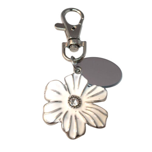 personalised keyring with gift pouch White flower custom engraved PL497