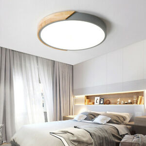 Details about Modern Gray Drum Shaped Ceiling Light Bedroom Wood&Acrylic  LED Lighting Lamp