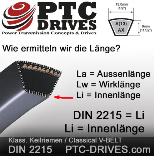 Z22.25 Keilriemen nach DIN 2215 10x565 mm Li Li = Innenlänge