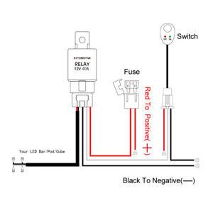 Wiring Harness Kit Fuse Relay Rocker Switch 2 Way LED Work Light Bar