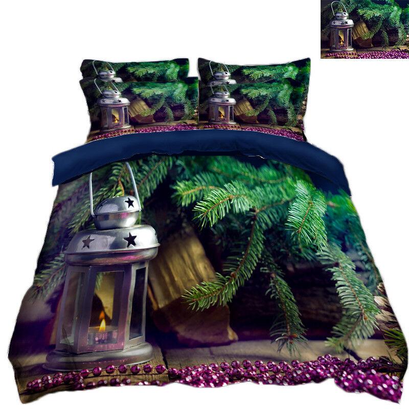 3D Christmas Xmas Leaf 498 Bed Pillowcases Quilt Duvet Cover Set Single KingUK