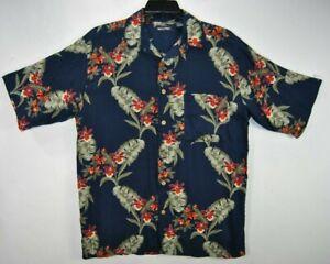 Puritan-Herren-M-Hawaii-Shirt-blau-Blumen-Kurzarm-Knopfleiste-Viskose-EUC