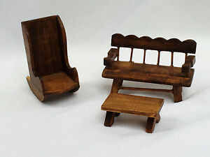 Vintage Dollhouse Rustic Primitive Living Room Set Sofa Rocking Chair Table Wood