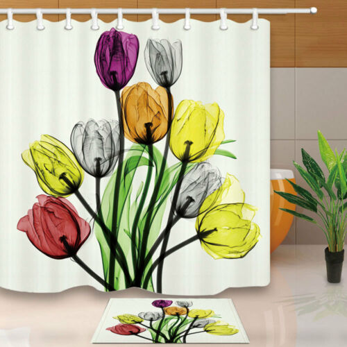 "Tulip Flower Green Leaf Watercolor Waterproof Bathroom Fabric Shower Curtain 71/"""