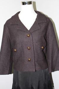Sleeve Taylor Jacket Goldtone Short Crop Wool Button 4 Xl 3 Ny Virginia Brown xgYqwF1F
