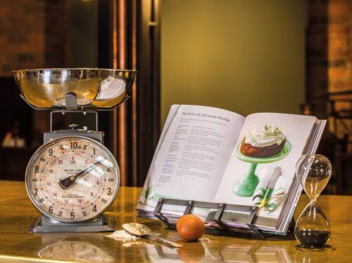 Wooden Large Cookbook Recipe Book Stand Tablet Holder Industrial Kitchen Metal