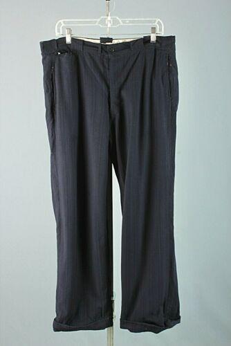 Men's 1930s Blue Wool Button Fly Dress Slacks 36x3