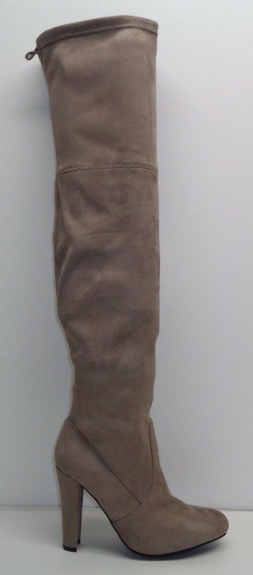 Steve Madden Sze 10 GORGEOUS Taupe Fabric Over Knee Heels Boots New Womens Shoes