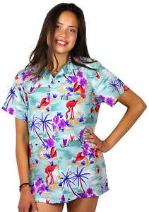 Funky-Hawaiian-Shirt-Damen-Flamingo-Green-Short-Sleeve