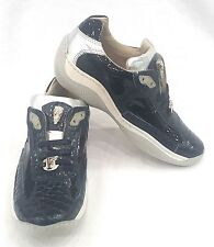 FENNIX ITALY WOMEN'S NAPPA PATENT CROC SNEAKER SHOES NAVY  SIZE 9