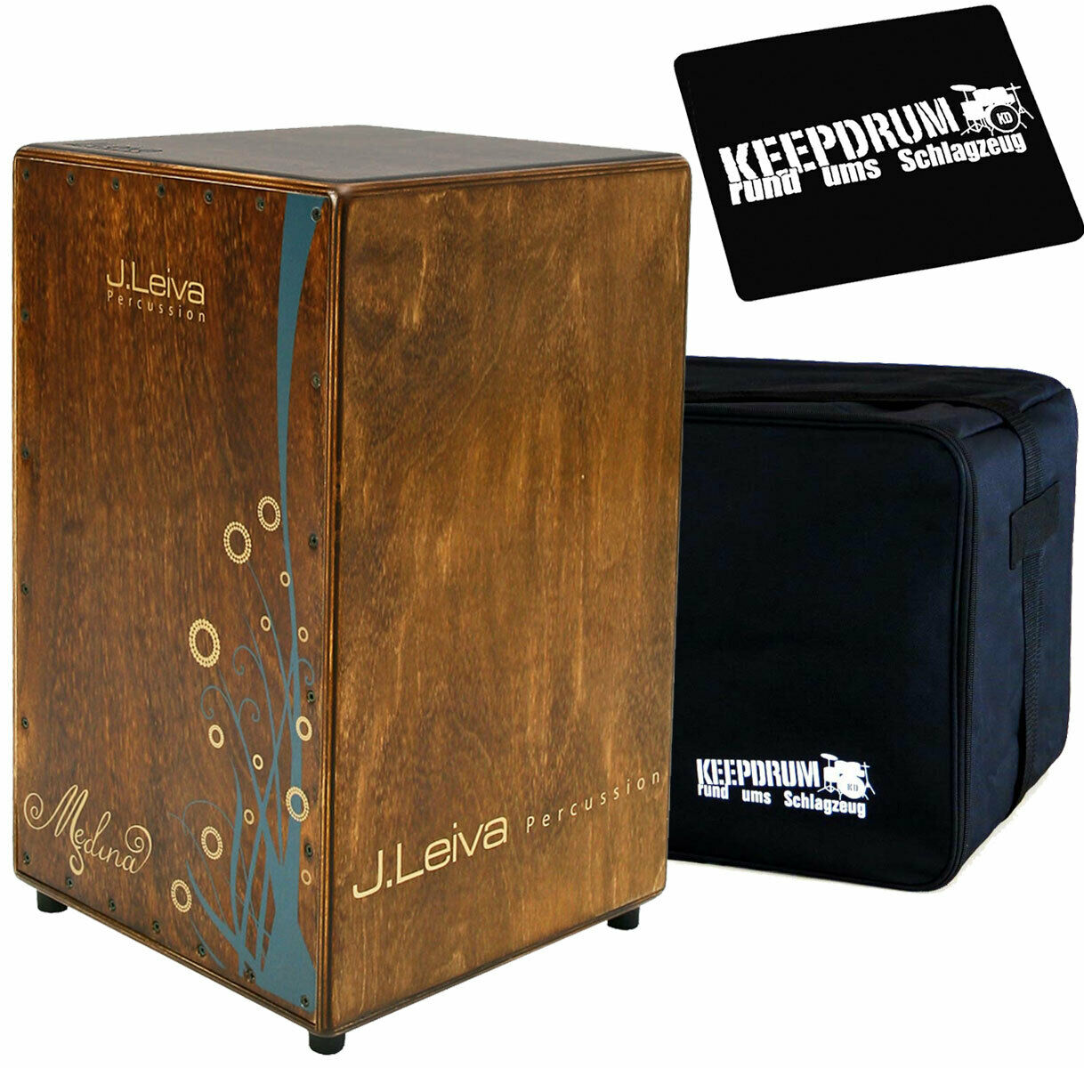 J.Leiva Medina Vintage Cajon + KEEPDRUM Tasche + Sitzpad