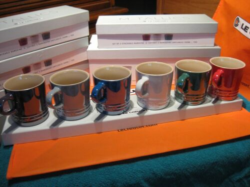 "Le Creuset Pearlized Mixed Metallics 6.8 Oz Cappuccino Mugs 3/"" Cups Set Of 6"