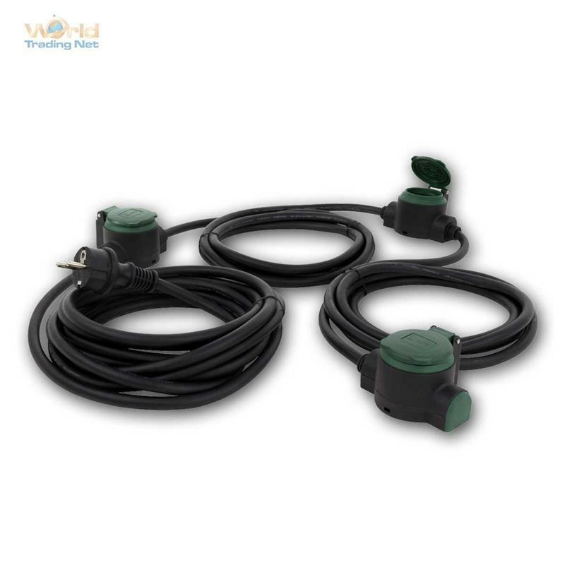 Cable de Corriente Extensión para Jardín 10m IP44,3