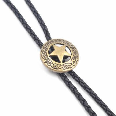 2019 Punk Western Cowboy MenRetro Leather Necktie Bola Bolo Tie Rodeo Necklace