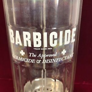 Details about Vintage Barbicide Disinfectant Kings Chrome Barber Shop Glass  Jar