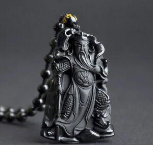 Obsidian-guan-yu-pendant-necklace-Jewelry-Women-Stone-Gift-energy-Chinese-Unisex