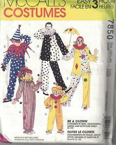 7850-UNCUT-Vintage-McCalls-SEWING-Pattern-Halloween-Costume-Clown-Adult-Kids-SEW