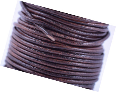 KONMAY 25 Yards Solid Round 2.0mm Matte Brown Genuine//Real Leather Cord Braiding String 2.0mm, Matte Brown