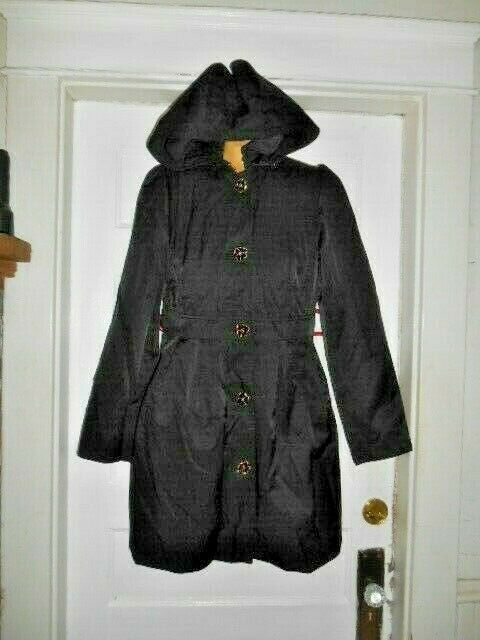 Betsey Johnson Black Hooded Lined Trench Coat w/Rose Buttons sz. M VGUC